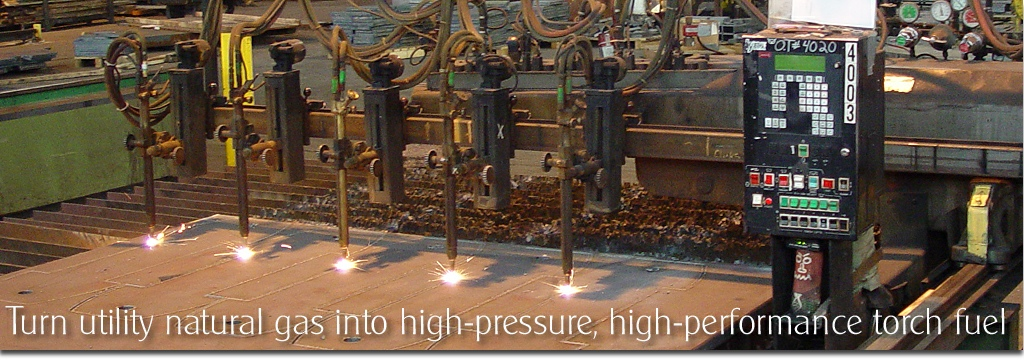 Cut steel plate with high pressure natural gas